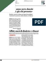 Affitti, anno nero, ma c'è già chi prenota - Il Corriere Adriatico del 29 marzo 2021