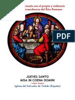 JUEVES SANTO. Propio y Ordinario de la santa misa rezada