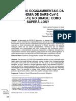 Impactos socioambientais da pandemia de SARS-CoV-2 (COVID-19) no Brasil como superá-los