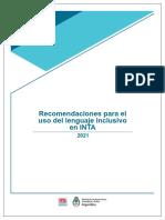 Manual de Recomendaciones Para El Uso Del Lenguaje Inclusivo en INTA (2021)