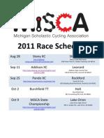 MiSCA 2011 Race Schedule