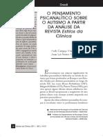 O PENSAMENTO psicanalítico sobre o autismo a partir da análise da Revista Estilos da Clínica