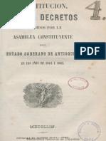 Constitución, leyes i decretos expedidos por la Asamblea Constituyente del Estado Soberano de Antioquia