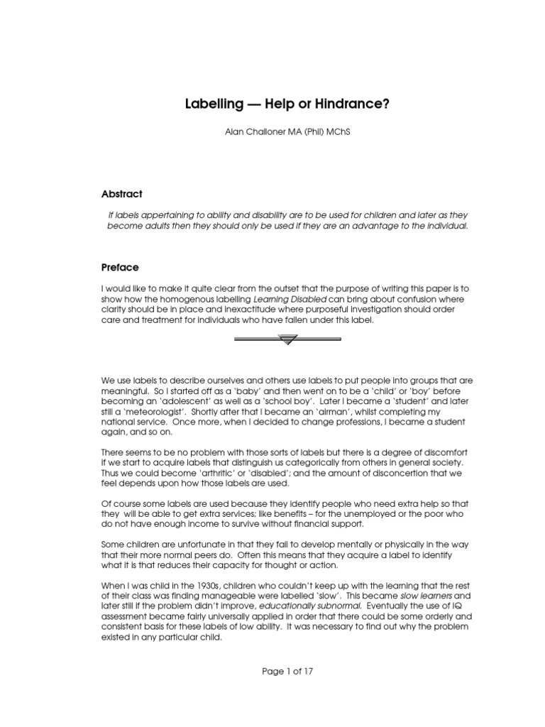 advantages of labeling students with disabilities