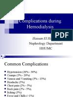 Complications druing Hemodialysis