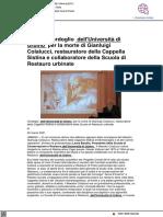 Cordoglio a Uniurb per la morte di Gianluigi Colalucci, restauratore della Cappella Sistina - Pu24.it, 30 marzo 2021