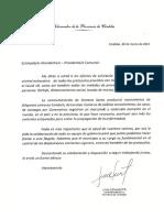 Nota Del Gobernador de La Provincia de Cordoba