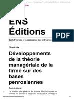 Édith Penrose et la croissance des entreprises - Développements de la théorie managériale de la firme sur des bases penrosiennes - ENS Éditions