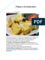 Receta de Papas a la huancaína Boliviana