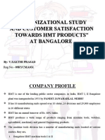 Organizational Study and Customer Satisfaction Towards HMT Products Bangalore
