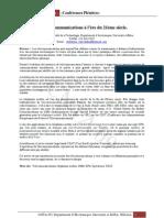 Programme des Séances Plénieres