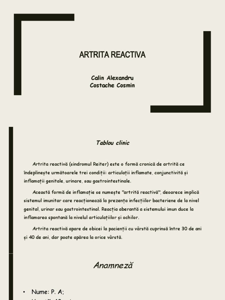 artrita reactiva tablou clinic)
