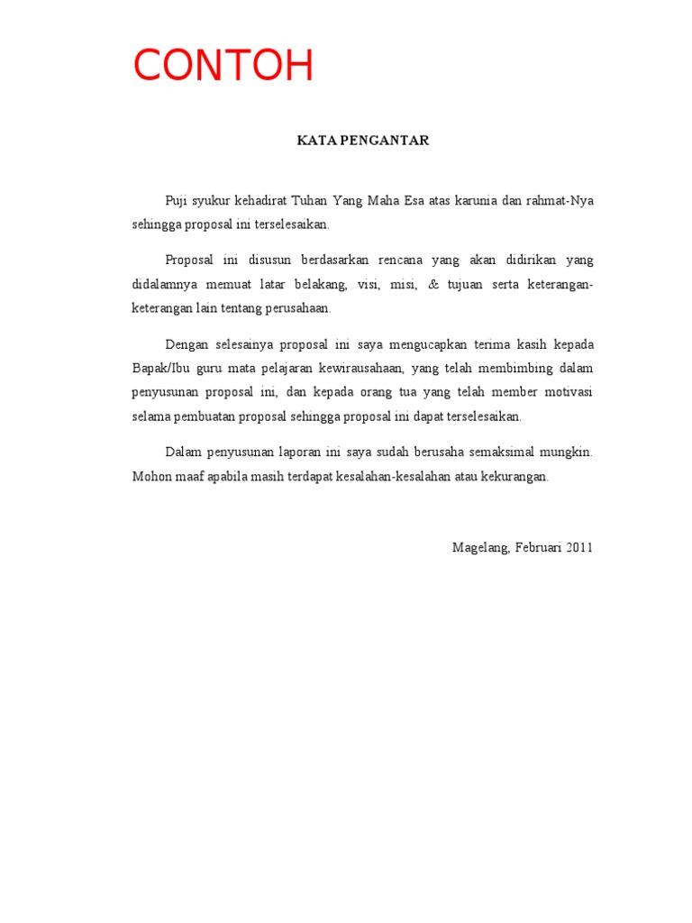 Contoh Proposal Bikin Butik