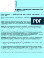Efficacy of pedicle screw fixation in the treatment of spinal instability