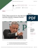 La Jornada - Critica AMLO reporte de EU sobre libertad de expresión; defiende a Sanjuana Martínez