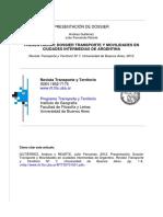 Gutierrez y Rearte (2012) Presentación de dossier. Transporte y movilidades en ciudades intermedias