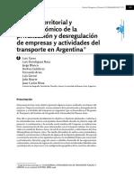 VV.AA (2016) Impacto territorial de las privatizaciones de empresas de transporte