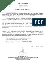 Declaracao de Matricula - TEOLOGIA PASTORAL