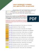 Официальные названия и номера Классических цветов RAL на русском языке