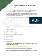 Principales mesures fiscales de la loi de finances 2021