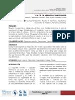 CALOR DE VAPORIZACION DE AGUA