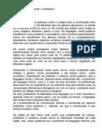 Comunicação- Unidade 1- Atividade 1