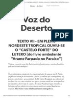 """7_TEXTO VII - EM PLENO NORDESTE TROPICAL OUVIU-SE O """"CASTELO FORTE"""" DO LUTERO"""