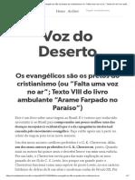 """8_Texto VIII - Os evangélicos são os pretos do cristianismo (ou """"Falta uma voz no ar"""";"""