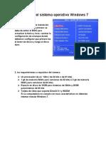 manual para la Instalación del sistema operativo Windows 7