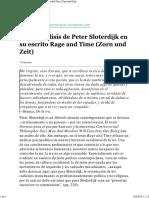 Breve Análisis de Peter Sloterdijk en Su Escrito Rage and Time (Zorn Und Zeit)