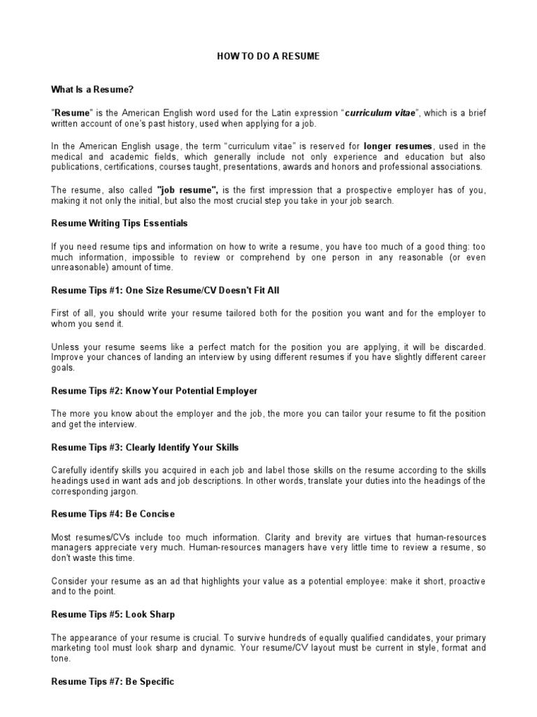 presentacion ingles resume résumé recruitment