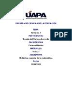 Tarea 1 de Didactica Especial e Las Matematicas.