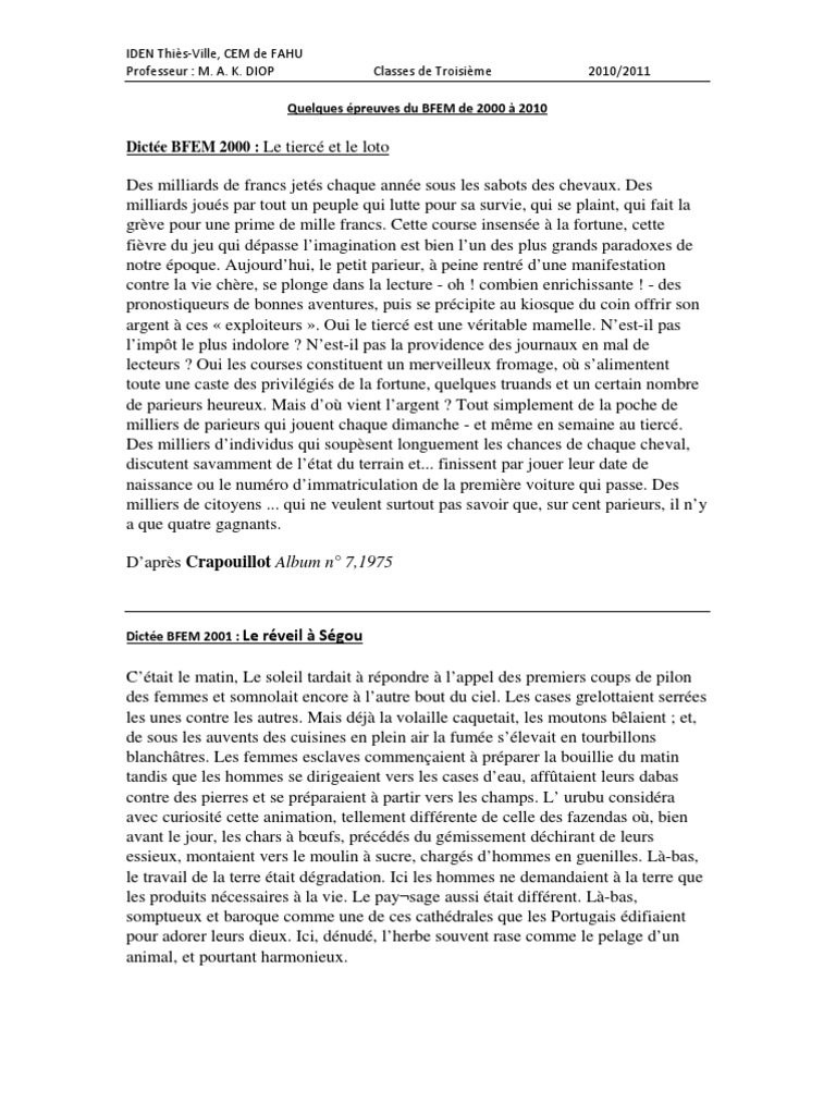 Dissertation sujets et corrigs