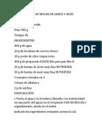 PAN DE MOLDE DE ARROZ Y MAÍZ - Receta