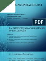 Sistemas Operacionais i - Aula 1