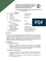 SÍLABO DEL TALLER DE  ACTIVIDAD ARTÍSTICA I (música, canto y declamación)- INICIAL
