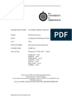 Information Systems Engineering Exam June 2007 - UK University BSc Final Year