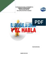 EL LENGUAJE, LA LENGUA Y EL HABLA (JHOSEMAR MENDOZA-MATERIAL)