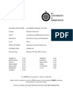 Information Systems Engineering Exam June 2008 - UK University BSc Final Year
