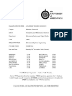 Information Systems Engineering Exam December 2008 - UK University BSc Final Year