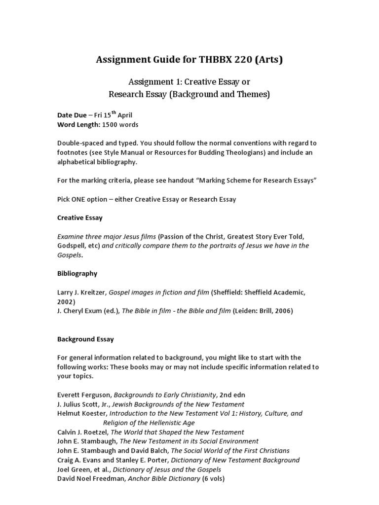 standard assignment format