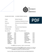 Information Systems Engineering Exam December 2009 - UK University BSc Final Year