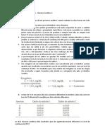 Primeira lista de exercícios - Quimica analítica