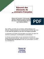 Résumé Des Éléments de Grammaire Française