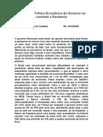 Análise Da Política Econômica Do Governo No Combate a Pandemia