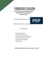 Métodos de análisis de calidad de agua (Trabajo de Abast. de agua y alcant.) UES