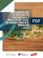 Mapeamento dos retrocessos de transparência e participação social na política ambiental brasileira – 2019 e 2020