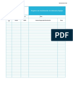 Formato Registro Limpieza y Desinfección Vehículos y Equipos