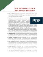 Qué títulos valores reconoce el Código de Comercio Boliviano3