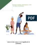 medidas para mantener la higiene, salud mental y social en tiempos de pandemia